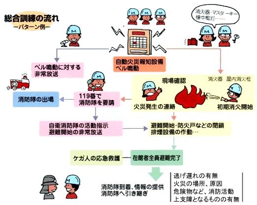 総合訓練の流れ(パターン例)